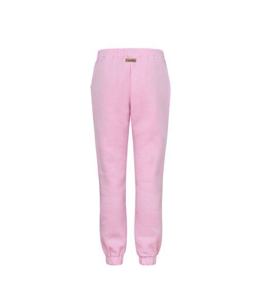 Comfortable Light Pink Sweatpants Back With Pink Feathers Print Inside
