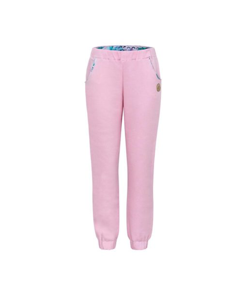 Comfortable Light Pink Surfer Sweatpants Front With Pink Feathers Print Inside