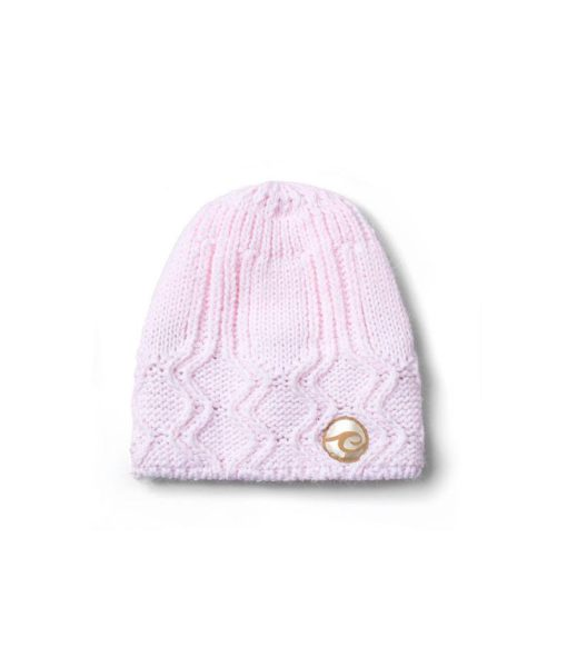 Candy Keeper Pink Knitted Hat with Evokaii surf logo surf beanie