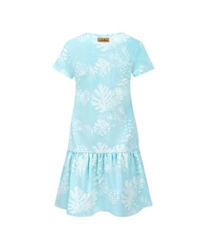 Women Surf Dress Mint Flowers Summer Dress Back