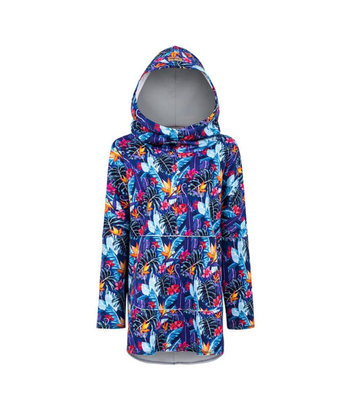 Oversized Hoodie with Kangoo Pockets - Tropical Flower Design