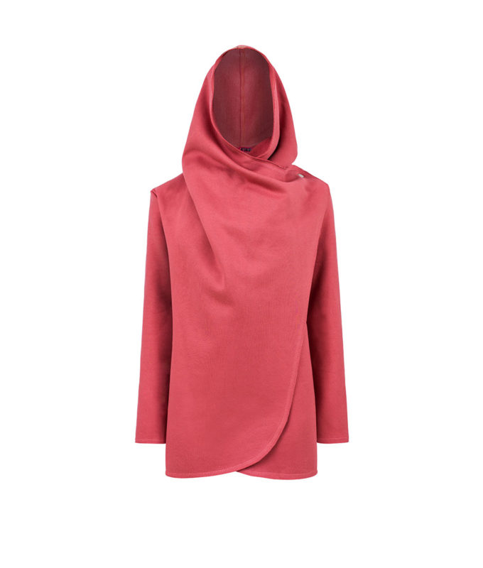 Hooded coat in pink with hood up closed with button for surf adventures