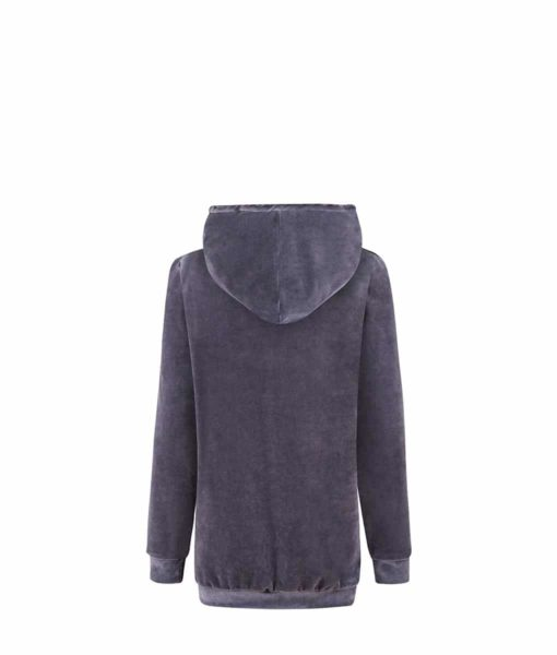 Big Hooded Hoodie Velvet Hoodie in Midnight Grey
