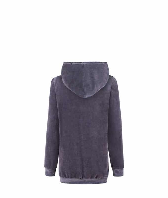 Big Hooded Hoodie Velvet Hoodie in Midnight Grey
