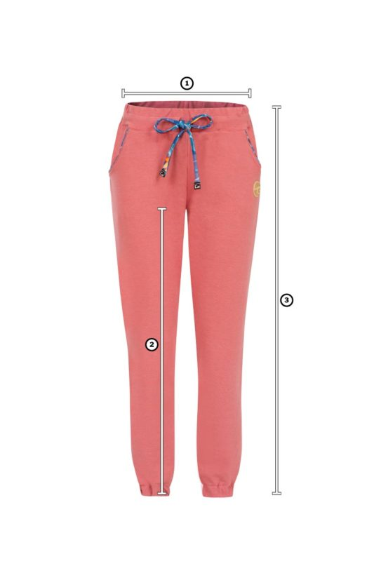 Size Chart of comfortable pink pants to lounge around for surf girls with floral pink pants pattern