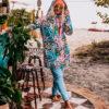 Long Hoodie on the Polish beach coffee bar- Hoodie Dress with Wild Flower Design