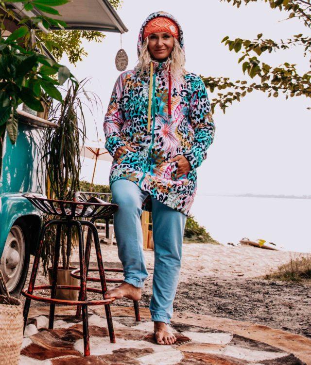 Long Hoodie on the Polish sea side - Hoodie Dress with Wild Flower Design