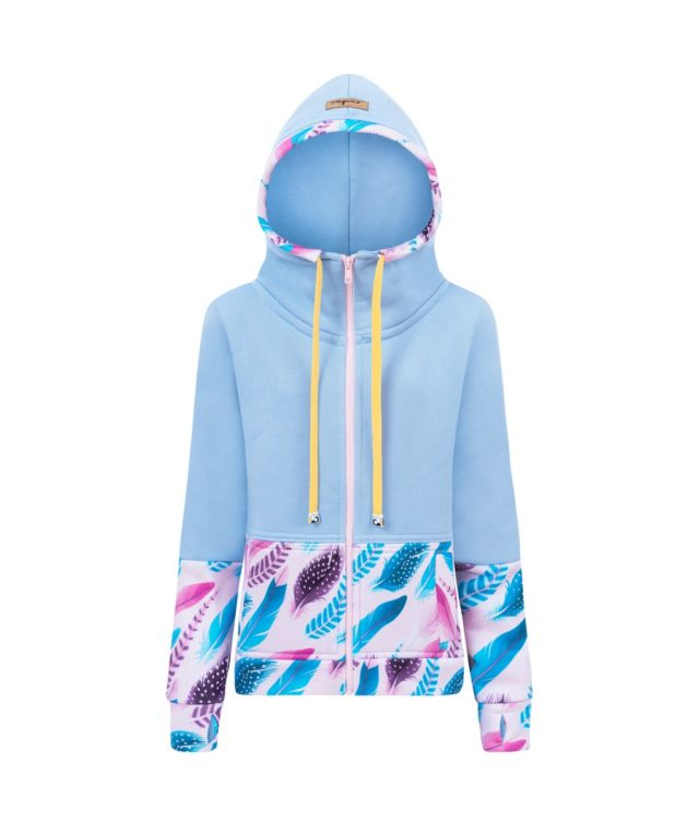 Candy Hoodie Kids - Blue Feathers Front