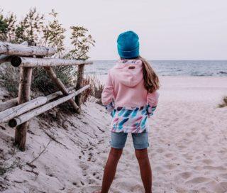 Dziecięca Bluza z kapturem na suwak Candy - Pink Feathers tył