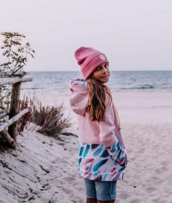 Dziecięca Bluza z kapturem na suwak Candy - Pink Feathers tył2
