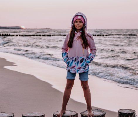 Dziecięca Bluza z kapturem na suwak Candy - Pink Feathers przód2