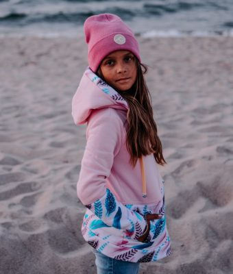 Dziecięca Bluza z kapturem na suwak Candy - Pink Feathers przód
