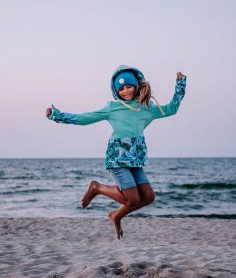 Dziecięca Bluza z kapturem na suwak Candy - Tourquise Delight przód