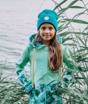 Dziecięca Bluza z kapturem na suwak Candy - Tourquise Delight przód3