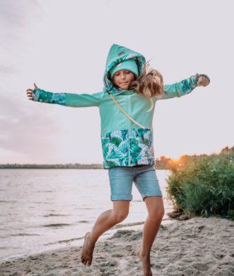Dziecięca Bluza z kapturem na suwak Candy - Tourquise Delight przód5