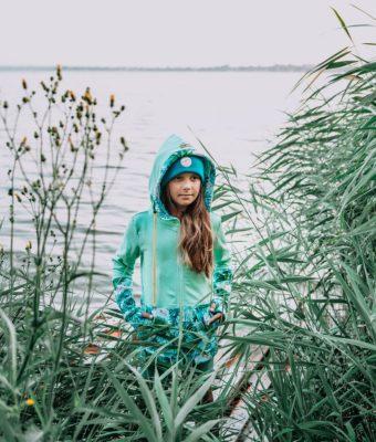 Dziecięca Bluza z kapturem na suwak Candy - Tourquise Delight przód7