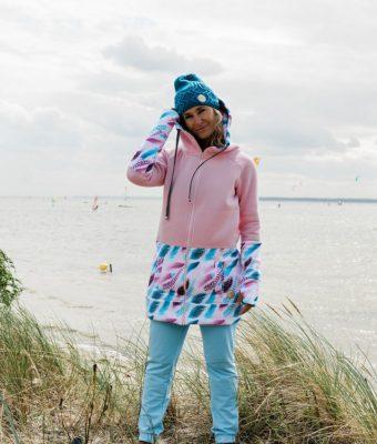 Długa bluza rozpinana z kapturem Candy – Feathers Pink morze