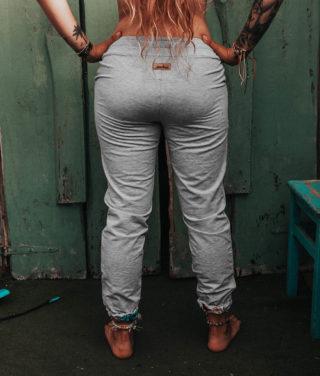 Spodnie bawełniane - Szare tył