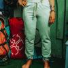 Spodnie bawełniane miętowe