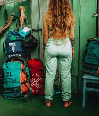 Spodnie bawełniane - Miętowe tył3
