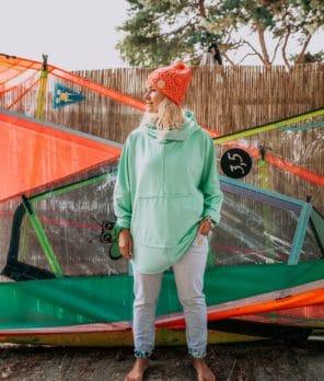 Oversized Kangoo Hoodie Mint Front