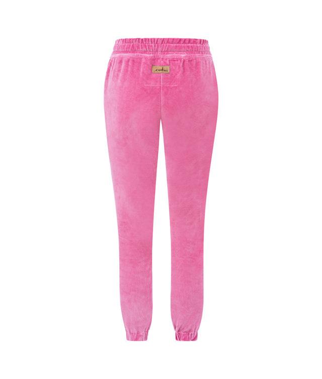 Spodnie welurowe różowe tył